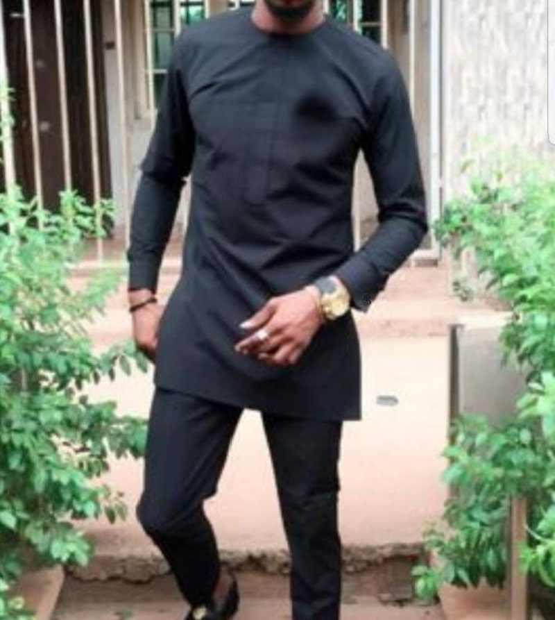Conjunto De Pantalon Para Hombre De Manga Larga Hecho A Medida De Talla Grande Negro Solido Tops Pantalones Para Fiesta Africana Dropshipping Aliexpress