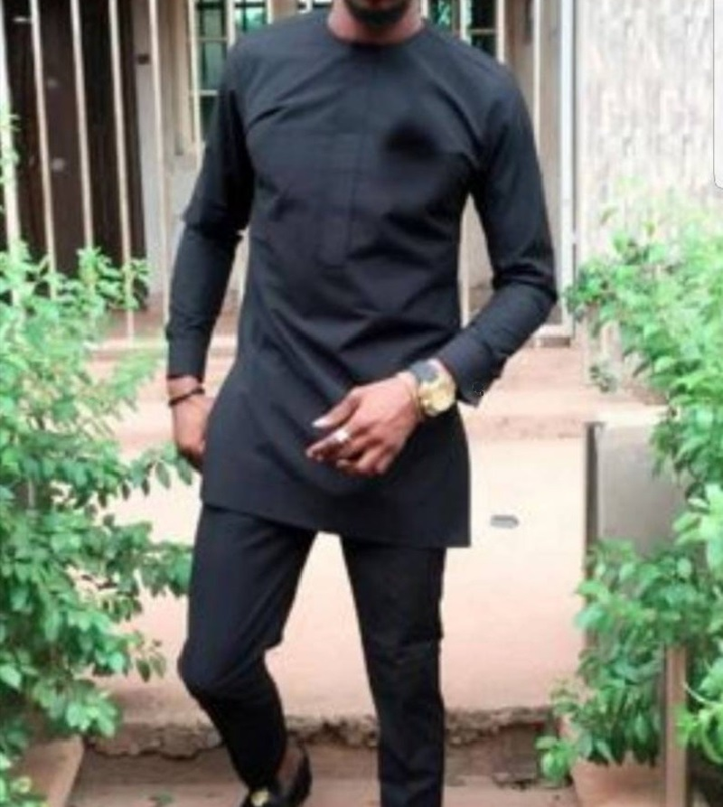 Men's Pant Set Long Sleeve Custom Made Plus Size Solid Black Tops+Trousers For African Party DropShipping