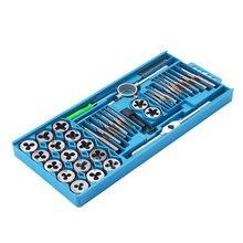 40 stücke Tap Sterben Set M3 M12 Schraube Gewinde Metric Wasserhähne Schlüssel Stirbt DIY Kit Schlüssel Schraube Threading Hand Werkzeuge Tippen wrench Tools