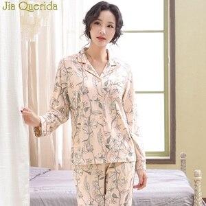 Image 2 - Floral Female Pajamas 2020 Spring Fall Long Sleeves Pajamas Set 2 Pcs 100% Cotton Sleeping Suit Loungewear Home Suit for Women