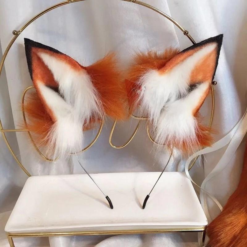 Lolita Hand Made LOL Golden Red Fox Ear Wolves and Cats Fox Ear Hair Hoop Headwear Tail