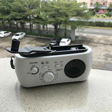 Generador de manivela multifuncional, Radio FM/AM, portátil, alimentado por energía Solar, Radio de emergencia con 3 luces LED