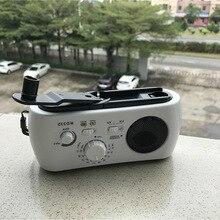 Gerador de mão multifuncional com rádio fm/am, rádio solar portátil com 3 leds, lanterna de emergência