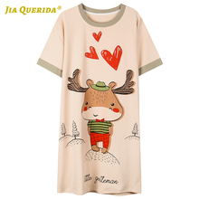 New Summer Short Sleeve Women Clothes Cartoon Printing Crew Neck Home D