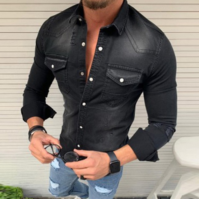Denim Wash Long Sleeve Shirt 2