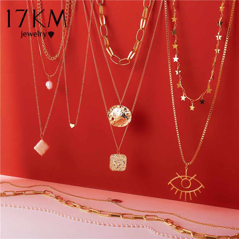 2020 Vintage Multilayer Emas Kalung Kalung untuk Wanita Gadis Baru Brinco Mata Mutiara Liontin Kalung 17Km Fashion Perhiasan