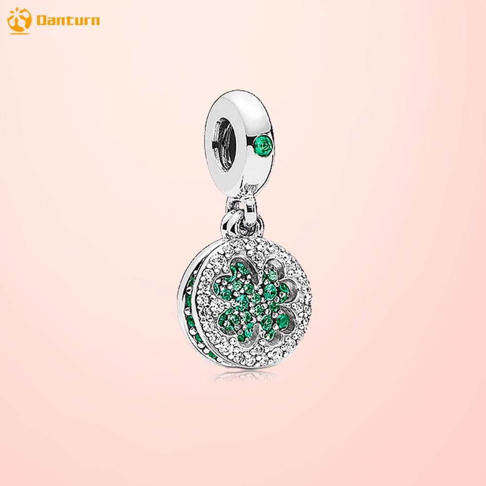 Danturn Authentic 925 Sterling Silver Bead Dazzling Clover Dangle Charm fit Original Pandora Bracelet for Women Jewelry Making