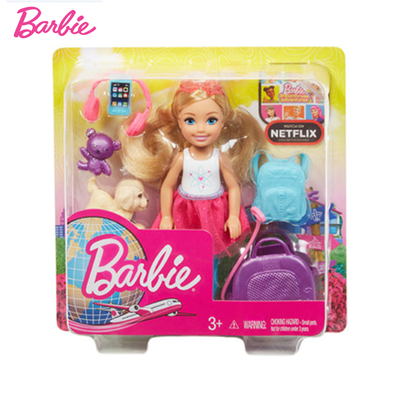 Original Brand Barbie Young Dreamers Dolls Accessories Travel with Puppy Baby Boneca Girls Toys for Chilren Doll Reborn Gift in Dolls from Toys Hobbies