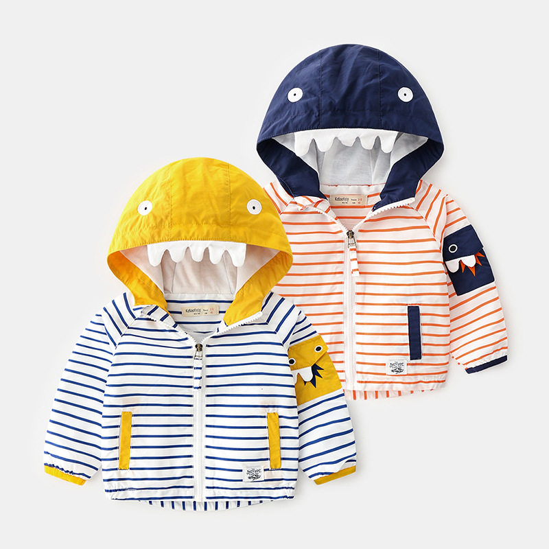 New Autumn Trench Coat for Boys Jacket 2019 Fashion Striped HoodieJacket for Boy Windbreaker Kids Outerwear Children Clothing in Jackets Coats from Mother Kids