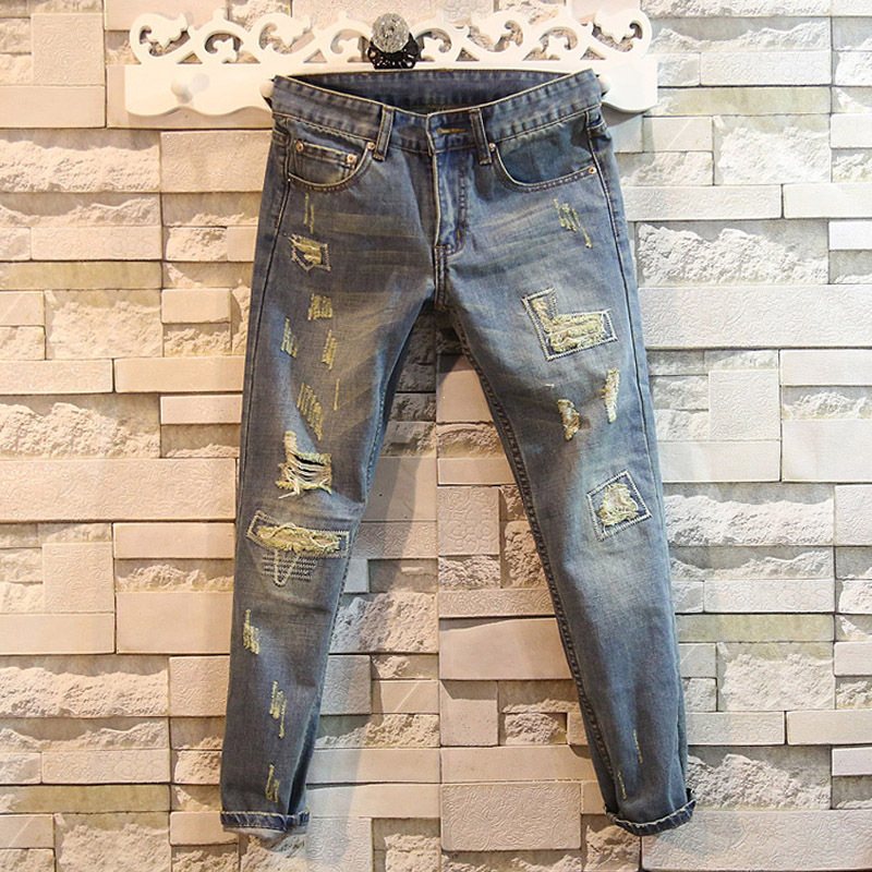 Spring and autumn 2020 Fashion Casual patch men's jeans ripped hole teenagers pencil pants feet denim pants Slim youth pants men