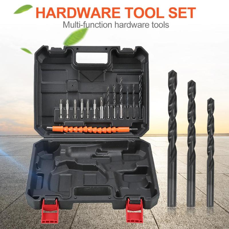 25pcs Household Toolbox Set Multi-function ABS Case Durable Practical Electric Drill Bits Hardware Tool Kit 255X215X55mm