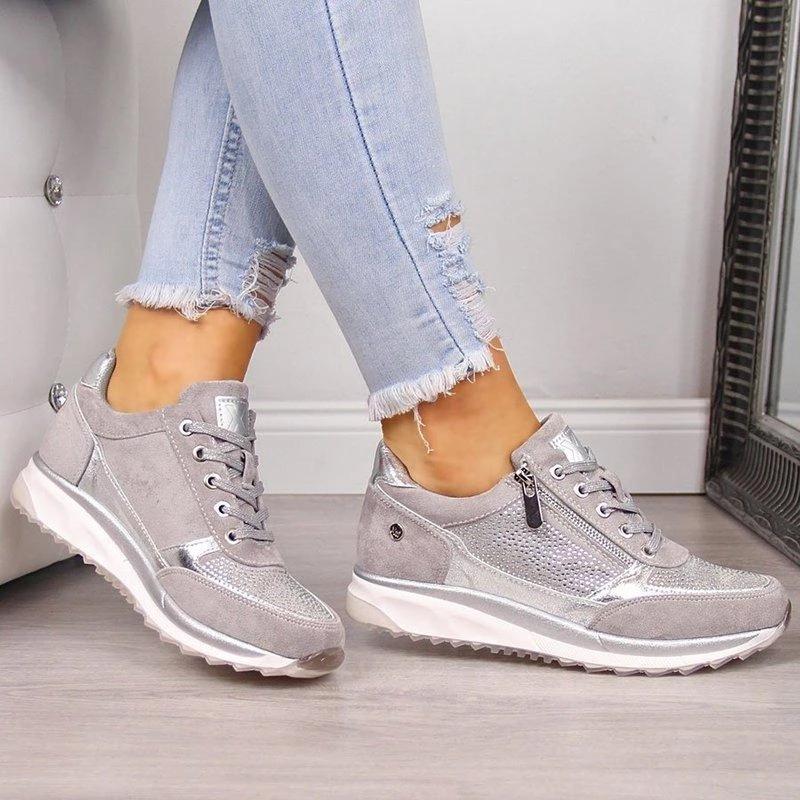 DAHOOD Women Sneaker 2020 Casual Wedge Ladies Flat Shoes Zipper Lace Up Comfortable Female Vulcanized Shoes Outdoor Single Shoe