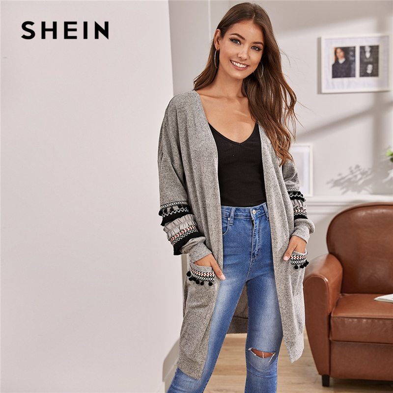 SHEIN Grey Tribal Tape Detail Pocket Front Cardigan Women Autumn Embroidery Fringe Casual Long Outerwear Cardigans 1