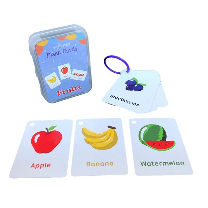 Number Memory Training Early Learning English Flash Card Fruit Alphabet Shapes Pattern Learning Educational Toy Baby Kids Gift