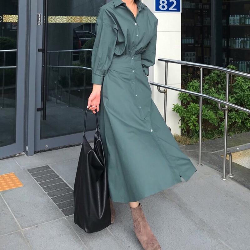 Image 2 - GALCAUR Korean Minimalist Dress For Women Lapel Collar Long  Sleeve High Waist Pure Dresses Female Autumn Fashion New 2020Dresses