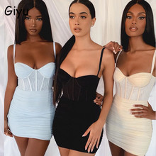 Giyu Sexy Mesh Night Club Party Jurk Vrouwen 2020 Zomer Spaghetti Band Backless Bodycon Mini Jurken Elegante Ruches Vestidos(China)