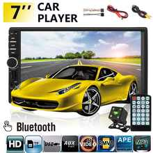 "2 Din auto Radio 7 ""HD MP5 Player bluetooth Multimedia USB/AUX/FM/Autoradio estéreo de Audio de coche de Monitor retrovisor Cámara(China)"