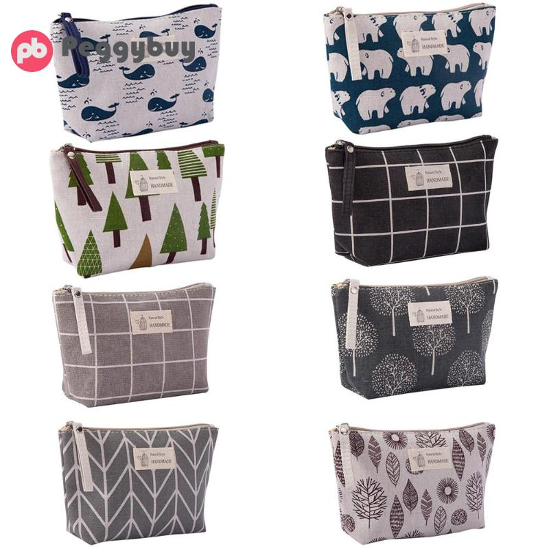 Printed Cosmetic Bag Multi-function Canvas Purse Makeup Wash Storage Pouch Flower Travel Makeup Storage With Zipper