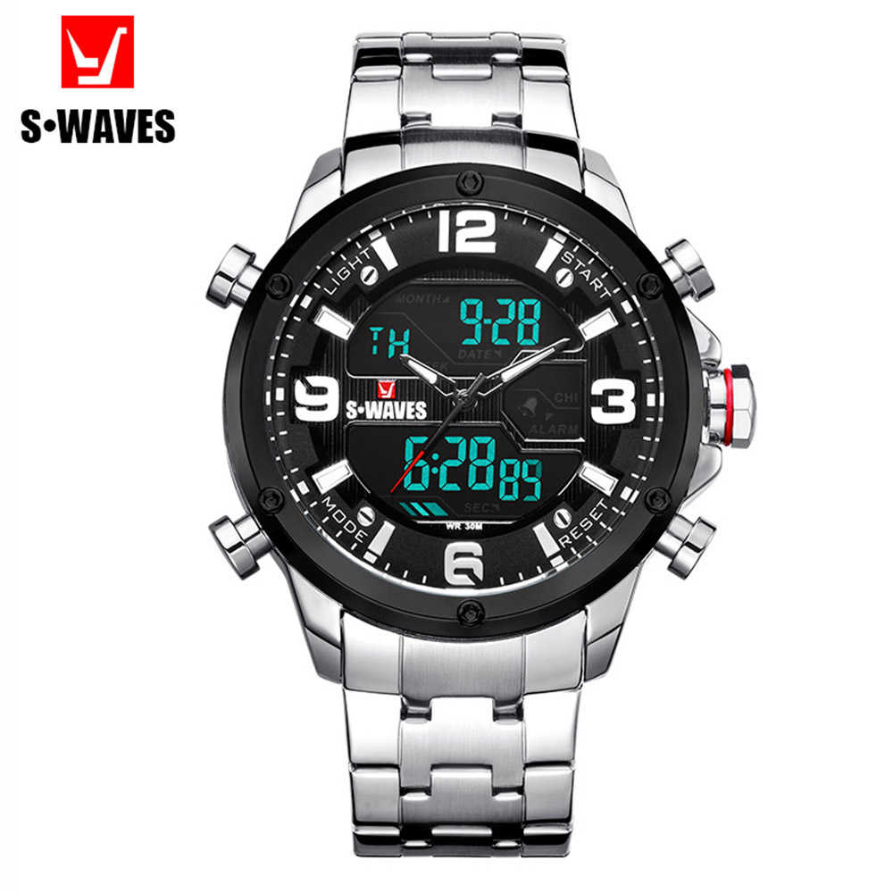 Silver Black Men's Wrist Watch Digital Analog SWAVES Waterproof Luxury Montre Homme 2019 Casual Week Stainless Steel Men Watch
