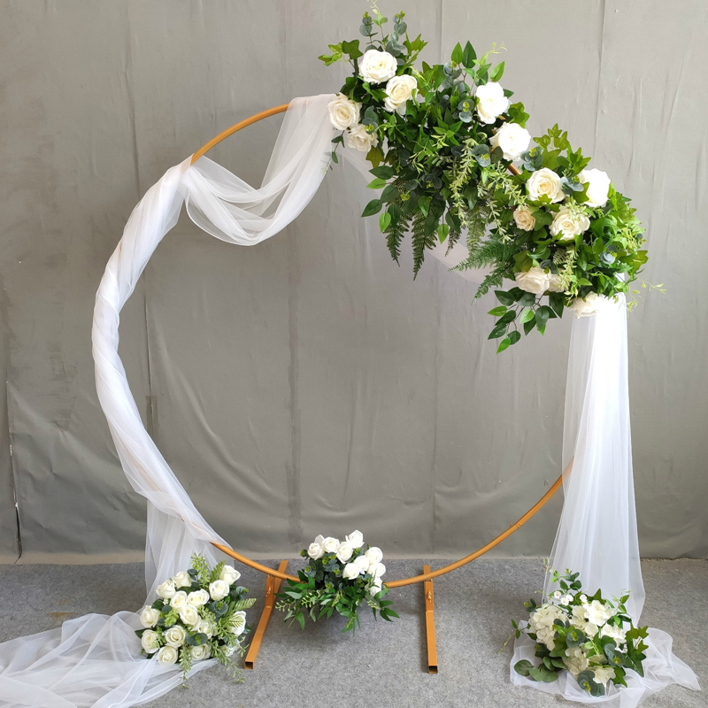 Iron Circle Wedding Birthday Arch Background Decoration  Wrought Props Single Arch Flower Outdoor Lawn Mesh Screen Road Guide