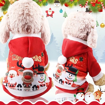 Elk Hoodie Pet Dog Clothes Santa Claus Clothing Dogs Suit Medium Cotton Costume Cute Chihuahua Christmas Red Boy Autumn Mascotas image