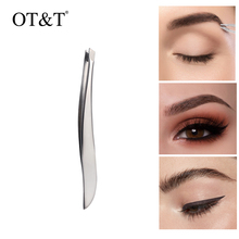 OT&T Eyelashes Tweezers Stainless Steel For Lashes Extension Sliver Anti-static Flat Eyelash Tweezer Cosmetics for Hair Remover