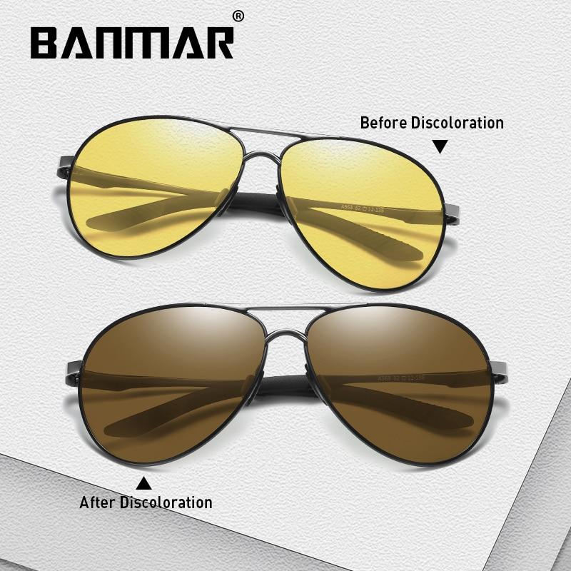 BANMAR Brand Photochromic Sunglasses Men Polarized Chameleon Discoloration Sun glasses For men fashion Square sunglasses Night