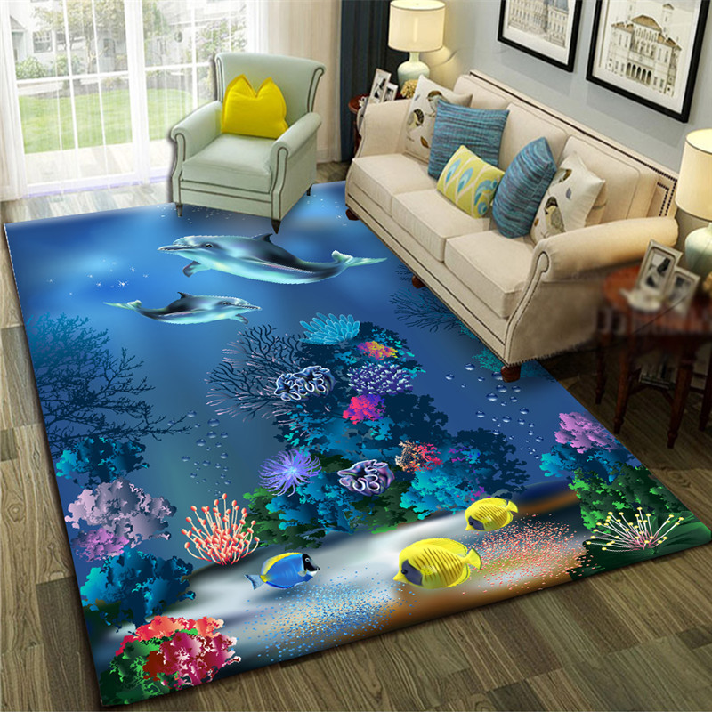 Sea 3D Carpet Shark Living Room Carpet Fish Kids Room Large Rugs Table Cushion Bedroom Bedside Sofa Baby Play Parlor Customized