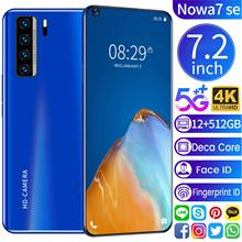 Global Version Galaxy Nowa7 SE 7.2Inch Smartphone Deca Core 5000mAh 12+512G Full Screen Fingerprint Unlock FaceID 5G Mobilephone