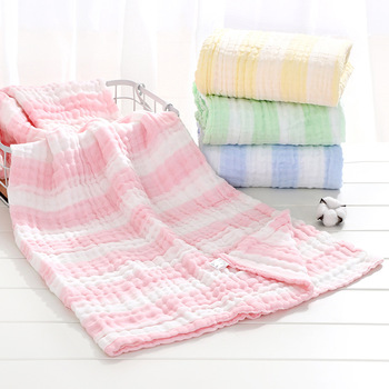 110*110cm 6 Layers Solid Baby Bath Towel Muslin Cloth  100% Cotton Towels Child Receiving Blanket Swaddle Wrap baby Bedding