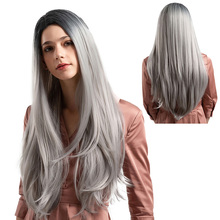 New 4 Colors Bob Lace Front Wig With Hair Long Straight Synthetic Wig For Beautiful lady Mixed Gray and Black Middle Nature Wigs все цены
