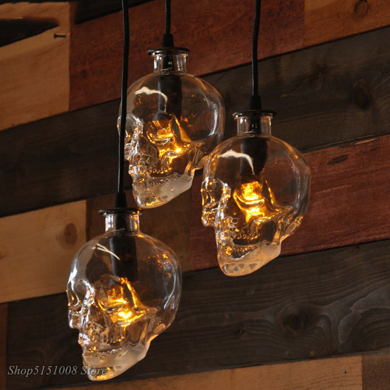 Retro Skull Clear Glass Pendant Dinning Room Bar Glass Bottle Pendant Lamp Demon Ghost Skeleton For Art Home Decor Light Fixture