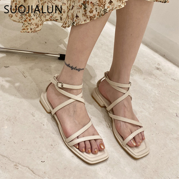 SUOJIALUN 2020 Summer Sandals Summer Gladiator Cross Strap Sandals Ankle Strappy Open Toe Stilettos Casual Flat Slides Shoes Muj strappy open shoulder jumper