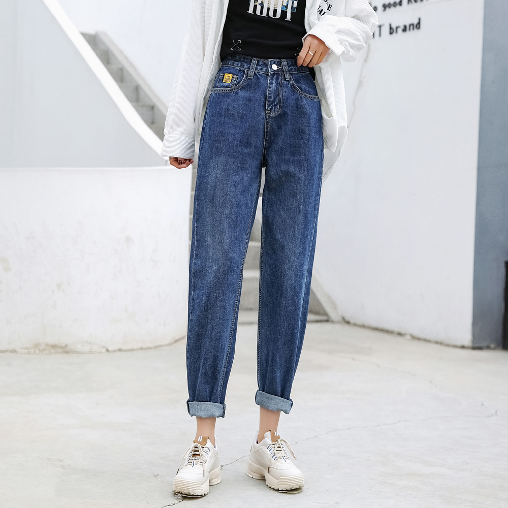 Ozhouzhan Loose-Fit With Holes Jeans Women's 2019 Autumn New Style Washing Cowboy Harem Pants Women's High-waisted Dad Pants