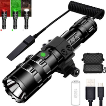 Powerful led flashlight USB rechargeable Red green white light Tactical hunting LED torch Used for hunting camping 18650 battery
