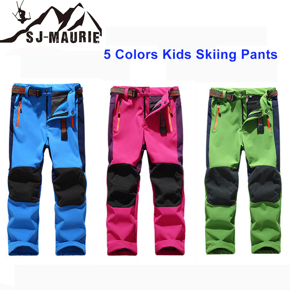 Boys Girls Skiing Pants Children Ski Pants Kids Snowboard Pants Winter Warm Leggings Waterproof Fleece Softshell Trousers