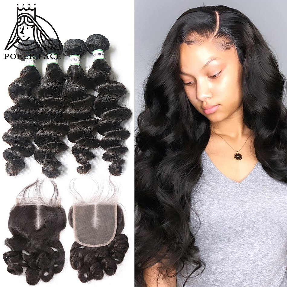 8-30 Inch Loose Deep Wave Bundles With Closure Brazilian Remy 100% Human Hair 3 4 Bundles Weave And Lace Closure Middle Ration