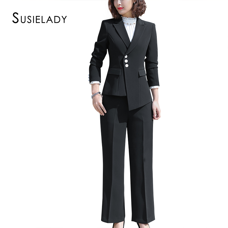 SUSIELADY Women Blazer Suits Three Button Office Lady Pantsuits Notched Collar Blazer Jacket & Pant  Women Suits