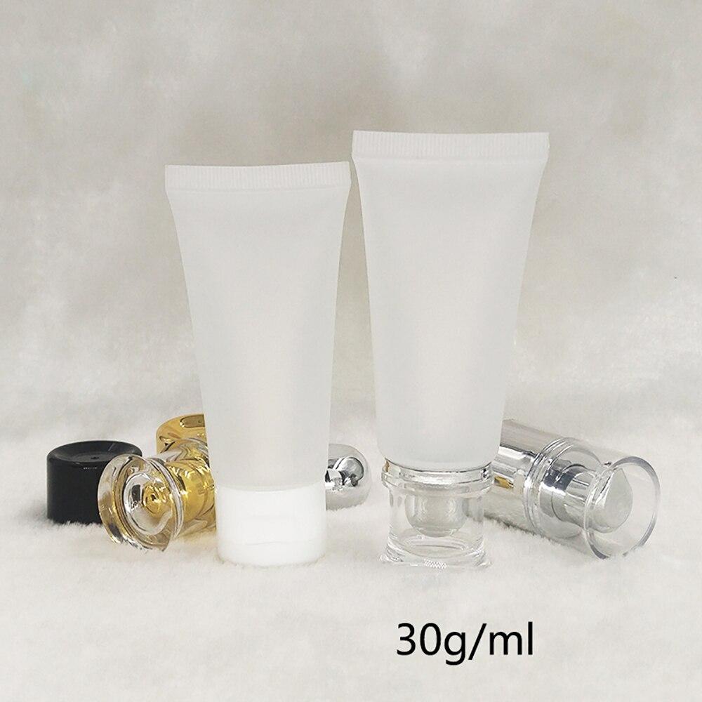 30 мл Прозрачный матовый косметический тюбик с белой откидной крышкой