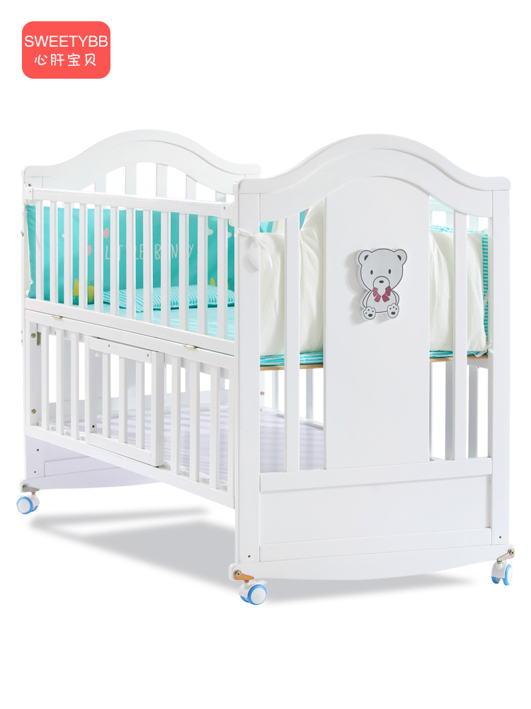 0968  Crib Solid Wood White European Style Baby BB Bed Bassinet Newborns Multi-functional Joint Bed