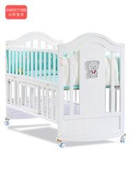 Berceau en bois massif Style européen | Blanc, lit BB pour bébé, couchette pour nouveaux-nés multifonctionnel