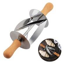 Кухонный нож из нержавеющей стали для выпечки хлеба, кухонный нож, инструмент для круассантов, нож для круассантов, столовые приборы с деревянной ручкой