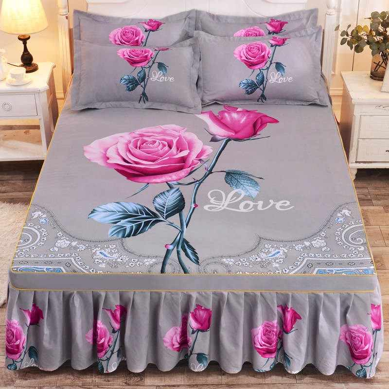 1pc Thickened Sanding Bedspread Wedding Fitted Sheet Cover Soft Non-Slip King Queen Bed Skirt