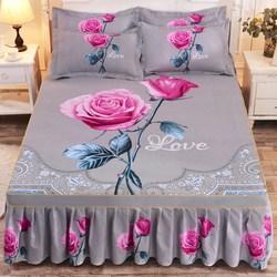 1pc engrossado lixar colcha de casamento capa de folha cabida macio antiderrapante rei rainha saia de cama