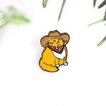 Gato gordo cowboy estilo bonito animal broche esmalte pinos camisa mochila crachá presente para crianças amigos jóias feitas sob encomenda adorável presente