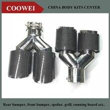 Ein Paar (Links + Rechts) verschiedene größen Universal Schwanz rohr Glänzend Carbon Dual Tip Endrohr Für AK
