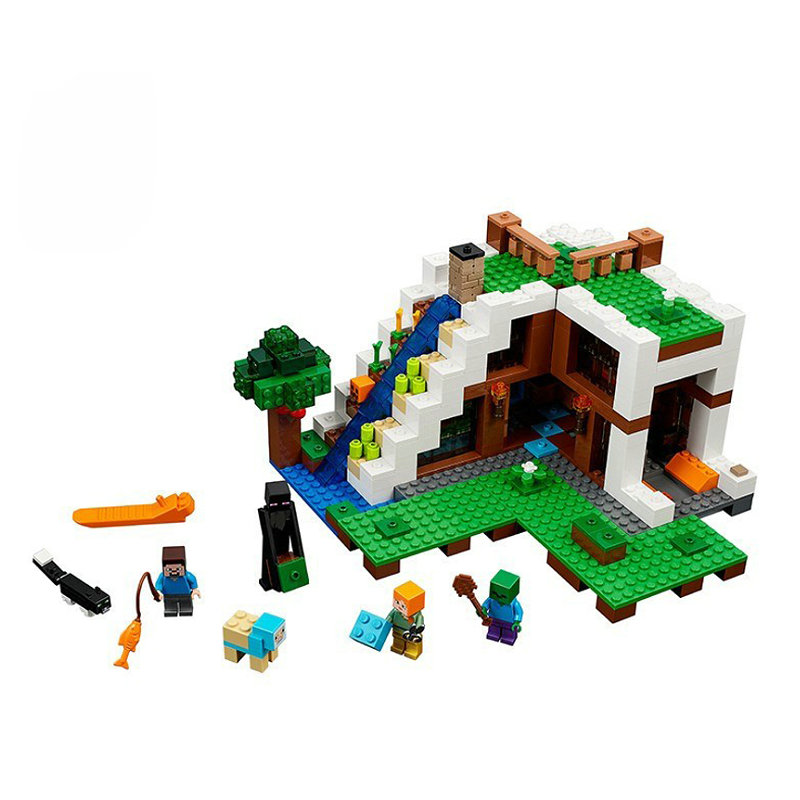 The Waterfall Base Building Blocks With Steve Action Figures Compatible LegoINGlys MinecraftINGlys Sets Toys 21134 9