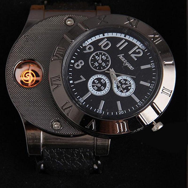 Man Watch 2019 USB Charge Windproof Electronic Flameless Lighter Watches Men's Quartz Watches Erkek Kol Saat Horloge Heren