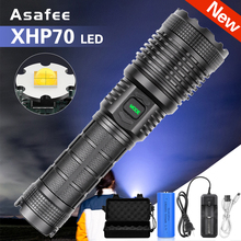 Waterproof Torch Flashlight Tactical Usb-Charging Xhp70 Led Lanternas Zoomable Camping