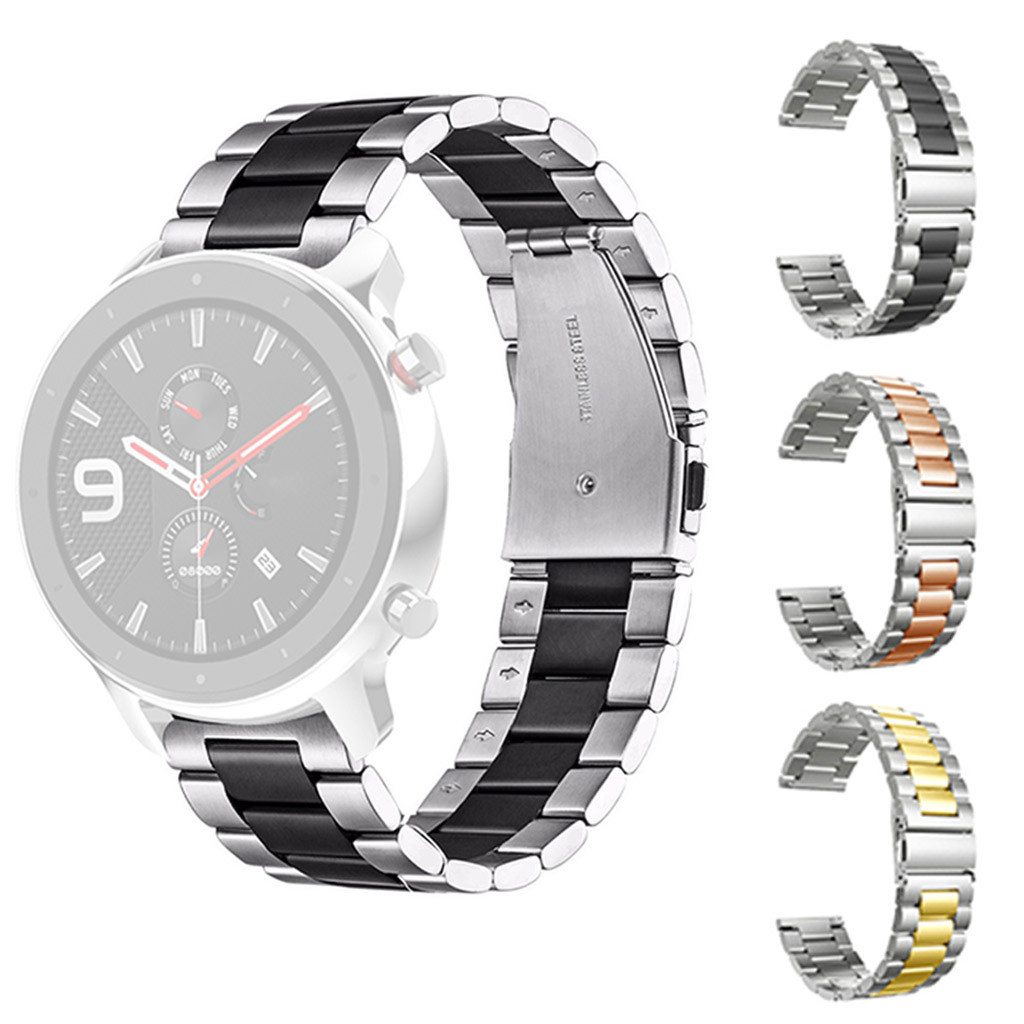 Wristband Strap Smart-Watch-Accessories Amazfit Gtr Stainless-Steel Replacement Metal